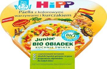Paella z kolorowymi warzywami i kurczakiem BIO