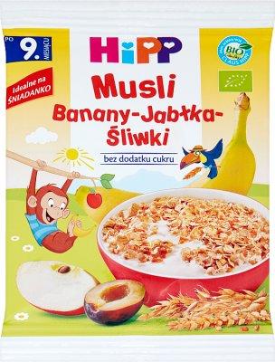 Hipp Musli wielozbożowe Banany-Jabłka-Śliwki BIO