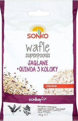 Sonko wafle superfoods jaglane z  quiną 3 kolory
