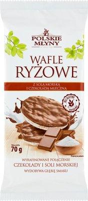 Polskie Młyny Wafle ryżowe z solą morską i czekoladą mleczną