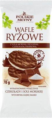 Polskie Młyny Wafle ryżowe z solą morską i Belgijską czekoladą deserową