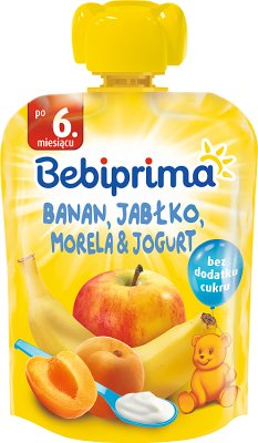 Bebiprima Mus owocowy z jogurtem Banan, jabłko, morela & jogurt
