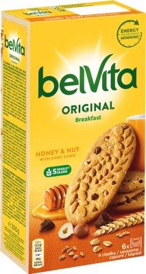 Belvita Breakfast Ciastka zbożowe z miodem,orzechami laskowymi i kawałkami czekolady