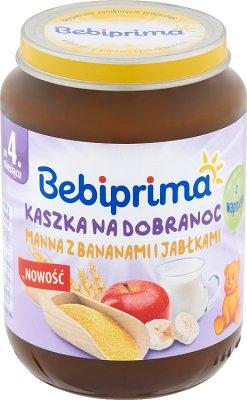 Bebiprima. Buenas noches gachas de maná con plátanos y manzanas