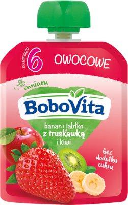 BoboVita Mus owocowy  banan i jabłko z truskawką i kiwi