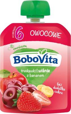 BoboVita mus owocowy w tubce truskawki i wiśnie z bananem