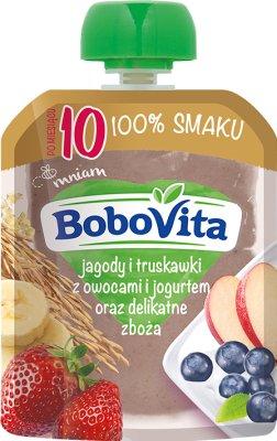 BoboVita Mus  jagody i truskawki z owocami i jogurtem naturalnym oraz delikatne zboża