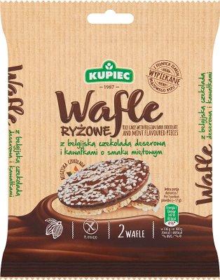 Kupiec Wafle ryżowe z czekoladą  deserową i kawałkami o smaku miętowym