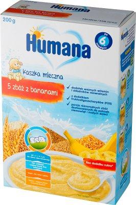 Humana Kaszka mleczna 5 zbóż  z bananami