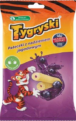 Tygryski pałeczki kukurydziane   z nadzieniem jagodowym