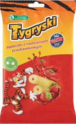 Tygryski pałeczki kukurydziane   z nadzieniem truskawkowym