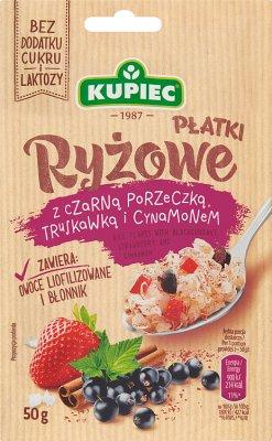 Kupiec Płatki ryżowe  z czarną porzeczką, truskawką i cynamonem