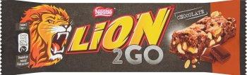 Lion 2Go Chocolate Baton  z orzechami ziemnymi,rodzynkami, kawałkami czekolady,chrupkami ryżowymi