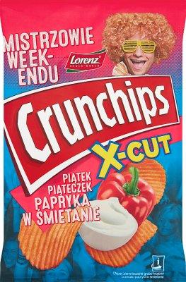 Crunchips X-Cut Chipsy ziemniaczane grubo krojone o smaku papryki w śmietanie