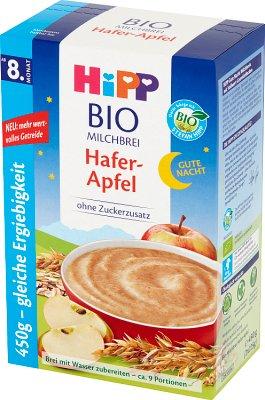 Hipp Kaszka mleczno-zbożowa Na Dobranoc BIO Owsianka z jabłkami  bez dodatku cukru