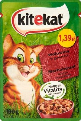 Kitekat Karma pełnoporcjowa  dla dorosłych kotów z wołowiną w galaretce