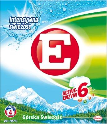 E Washing powder for white fabrics. Mountain freshness