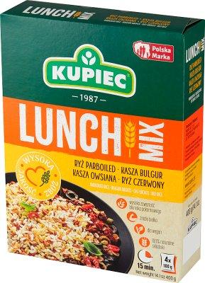 Kupiec Lunch Mix ryż parboiled,  bulgur, ryż czerwony, kasza owsiana 4 x100 g