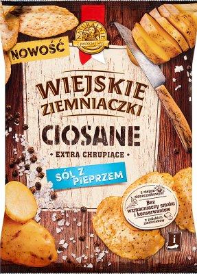 Wiejskie Ziemniaczki Ciosane Chipsy ziemniaczane o smaku soli z pieprzem