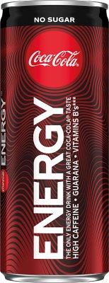 Coca-Cola Energy no sugar Napój  gazowany energetyzujący z kofeiną, ekstraktem z guarany i witaminami z grupy B. Zawiera substancje słodzące.