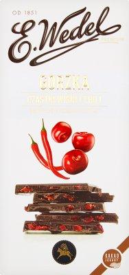 E. Wedel Czekolada premium gorzka  z cząstkami wiśni i ekstraktem z chilli