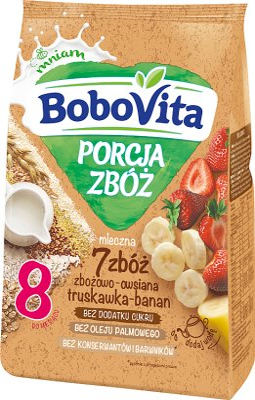 BoboVita Porcja Zbóż Kaszka mleczna 7 zbóż zbożowo-owsiana truskawka-banan