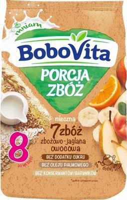 BoboVita Porcja Zbóż Kaszka mleczna 7 zbóż zbożowo-jaglana owocowa