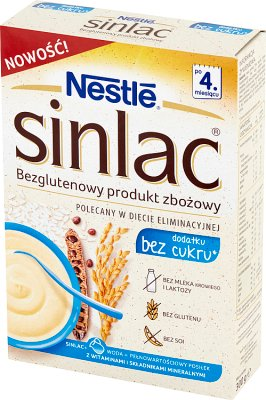 Nestle Sinlac Bezglutenowy produkt  zbożowy bez dodatku cukru