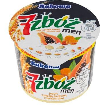 Bakoma 7 zbóż men jogurt  z papają,kurkumą i ziarnami zbóż