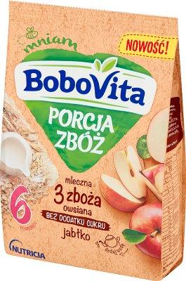 BoboVita Porcja Zbóż Kaszka mleczna 3 zboża owsiana jabłko