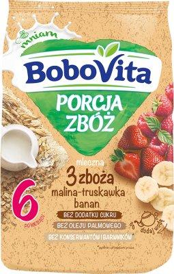 BoboVita Porcja Zbóż kaszka mleczna 3 zboża malina-truskawka-banan