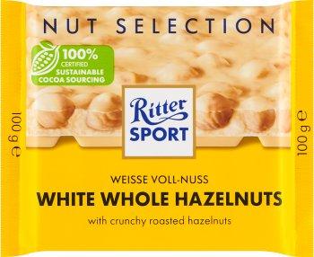 Ritter Sport Czekolada biała z  całymi prażonymi orzechami laskowymi