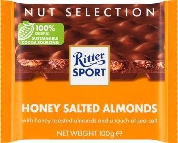 Ritter Sport Czekolada mleczna   Z prażonymi, solonymi migdałami w polewie o smaku miodowym