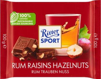 Ritter Sport Czekolada mleczna z rodzynkami w rumie Jamaica i z siekanymi orzechami laskowymi