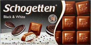 Schogetten Black & White czekolada mleczna z nadzieniem wanilinowym i kawałkami ciasteczek kakaowych