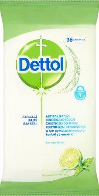 Denttol Chusteczki do mycia antybakteryjne i drożdżakobójcze o zapachu limonki i mięty