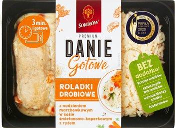 Sokołów Danie Gotowe Roladki drobiowe z nadzieniem marchewkowym w sosie śmietanowo koperkowym z ryżem
