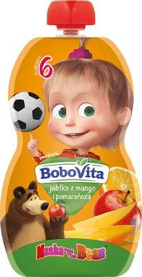 BoboVita mus w tubce Masha&Bear jabłko z mango i pomarańczą