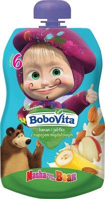 BoboVita mus w tubce Masha&Bear banan i jabłko z napojem migdałowym
