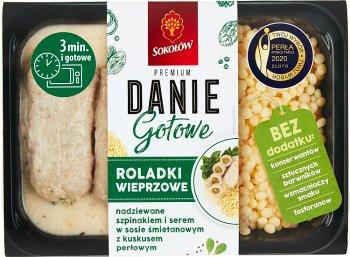 Sokołów Danie Gotowe Roladki wieprzowe nadziewane szpinakiem i serem w sosie śmietankowym z kuskusem perłowym