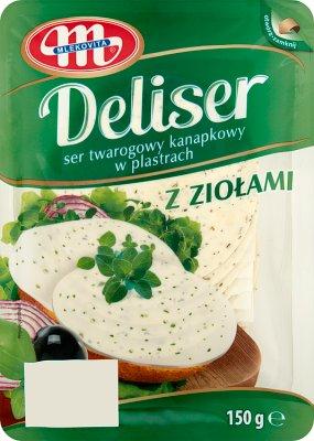 Mlekovita Deliser ser twarogowy kanapkowy z ziołami w plastrach 14% tł.