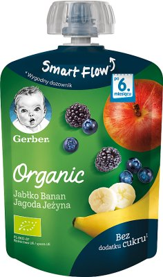 Gerber Organic Mus Jabłko, Banan, Jagoda, Jeżyna