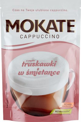 Mokate Cappuccino o smaku truskawki w śmietance - rozpuszczalny napój kawowy w proszku
