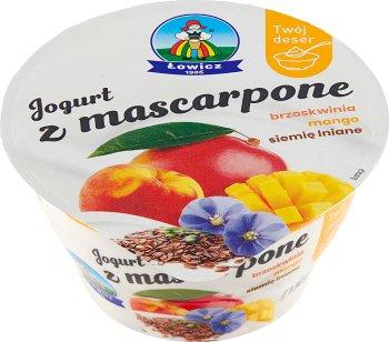 Łowicz Jogurt z mascarpone  brzoskwinia mango siemię lniane