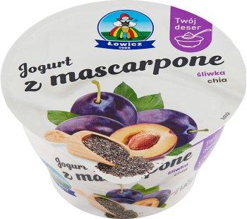 Łowicz Jogurt z mascarpone śliwka  chia