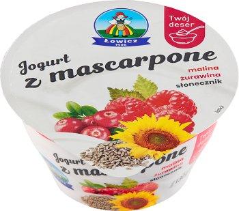 Łowicz Jogurt z mascarpone malina żurawina słonecznik